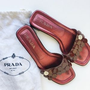 Vintage Prada Patent Leather Sequin Slides